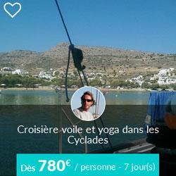 Miniature de l'offre de croisière Skippair voile et yoga dans les Cyclades avec Nicolas et ses collègues